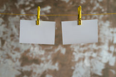 Paper cards hanging on the rope Royalty Free Stock Image