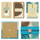 Paper cards scrapbook elements collection Stock Photos