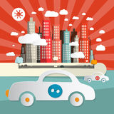 Paper Cars in City - Town Abstract Flat Design Illustration Royalty Free Stock Image