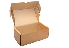 Paper carton box open isolated on white. Stock Photography