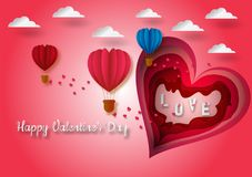Paper carve heart shape to valentine`s day concept of balloons shape of heart flying with pink background, vector illustration Stock Photography