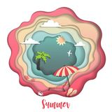 Cute Paper carve summer background. Stock Photography