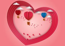 Paper carve to valentine`s day concept of balloons shape of heart flying with pink background, vector illustration Royalty Free Stock Photos