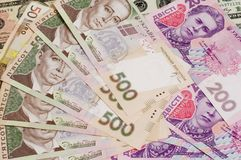 Paper Cash bills 500 and 200 of Ukrainian hryvnia  close-up Royalty Free Stock Photography