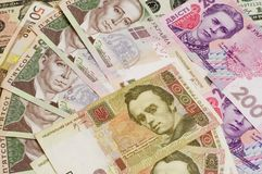 Paper Cash bills 500 and 200 of Ukrainian hryvnia close-up royalty free stock photo