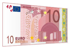 Paper cash of euro. Cash of euro with number 10 on a white background Stock Illustration
