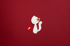 Paper cat with heart applique. Cute little cat applique on texture background Stock Images