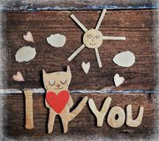 Paper cat in love Royalty Free Stock Image