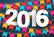 2016 paper celebration background. Happy 2016 new year celebration background. Vector paper illustration royalty free illustration