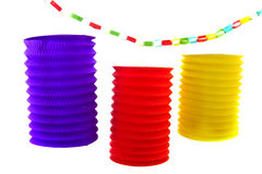 Paper chain and Chinese lanterns stock image