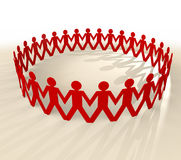 Paper chain men shadow Royalty Free Stock Images
