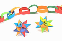 Paper chain and paper stars Stock Images