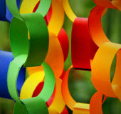 Paper chains and links. Detail of colorful effective paper chains for decoration Royalty Free Stock Image