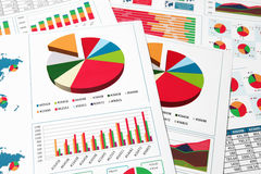 Paper charts, graphs and diagrams. Financial printed paper charts, graphs and diagrams Stock Photo