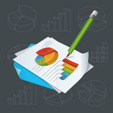 Paper With Charts And Pencil. Vector illustration of bright colourful charts. Green pencil for notes. Various charts and diagrams on background.  Objects Stock Images