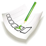Paper with check boxes and green tick Stock Images