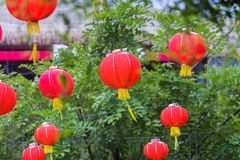 Paper Chinese lanterns on New Year eve Royalty Free Stock Photography