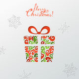 Paper Christmas background. Festive colourful gift. Vector template. There is place for your text Royalty Free Stock Photo