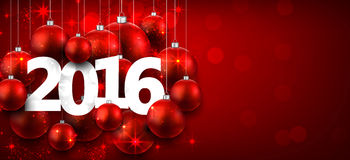 2016 paper christmas background. Happy 2016 new year with red christmas baubles. Vector banner royalty free illustration
