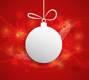 Paper Christmas ball with space for text-Christmas Greeting Card. Merry Christmas design- paper Christmas ball with space for text.Christmas Greeting Card.Red royalty free illustration