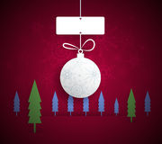 Paper Christmas ball with space for text-Christmas Greeting Card Royalty Free Stock Image