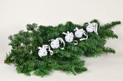 5 paper Christmas balls Royalty Free Stock Image
