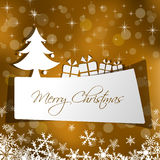 Paper Christmas card with gift Royalty Free Stock Photos