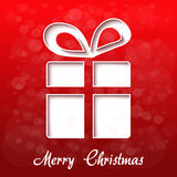 Paper Christmas gift, red background - EPS 10. Illustration Stock Photos