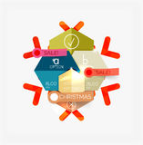 Paper Christmas Greeting Card Banners with text. Holiday geometric templates Stock Image