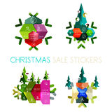 Paper Christmas Greeting Card Banners with text. Holiday geometric templates Royalty Free Stock Photography