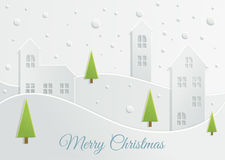 Paper Christmas landscape Royalty Free Stock Photos