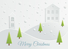 Paper Christmas landscape Royalty Free Stock Photo