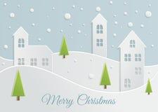 Paper Christmas landscape Stock Photos