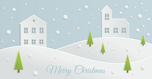 Paper Christmas landscape Stock Image