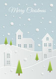 Paper Christmas landscape Royalty Free Stock Photography