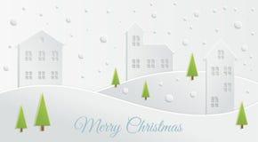 Paper Christmas landscape Stock Photo