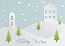 Paper Christmas landscape Stock Photography