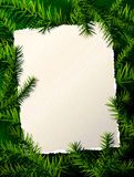 Paper for christmas list against pine branches Stock Photo
