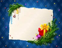 Paper for christmas list with gift and bauble Royalty Free Stock Images