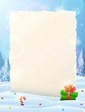 Paper for christmas list sticking out of snow Royalty Free Stock Photos
