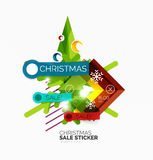 Paper Christmas and New Year banner. S with sparkles royalty free illustration
