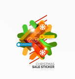 Paper Christmas and New Year banner. S with sparkles vector illustration