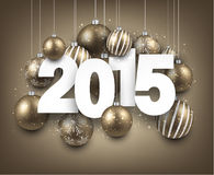 2015 paper christmas sign. Happy 2015 new year with golden christmas baubles. Vector paper illustration Stock Image