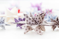 Paper Christmas stars Stock Photo