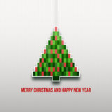 Paper Christmas tree. Christmas background. Christmas card. Happy New Year. Paper texture. Christmas origami. Christmas postcard vector illustration