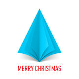 Paper Christmas tree. Abstract blue paper Christmas tree on white background Stock Image