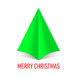 Paper Christmas tree. Abstract green paper Christmas tree on white background Royalty Free Stock Photos