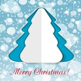 Paper Christmas tree on blue background with falling snow. Vector Stock Image