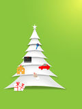 Paper christmas tree. Decorated vector paper christmas tree, eps10 file, gradient mesh and transparency used Royalty Free Stock Photo