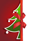 Paper Christmas tree gift card Stock Image